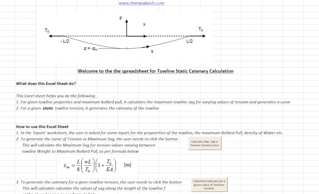 Towline (Static) Catenary Calculator